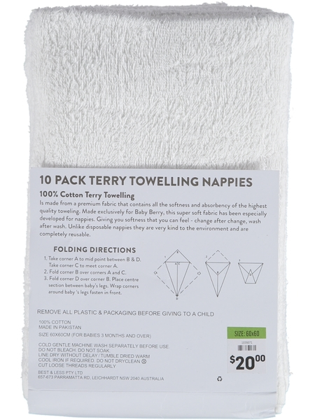 Baby Cotton 10Pk Nappies