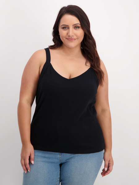 Womens Plus Rib V Neck Tank