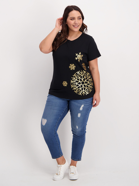 Womens Plus Sequin Christmas Tee