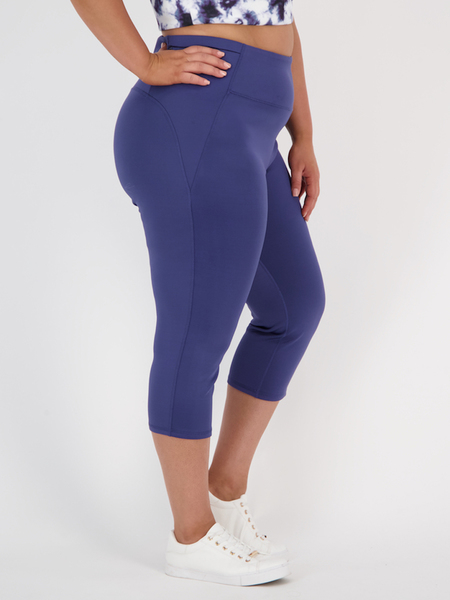 Womens Plus Sculpting Bum Side Pocket Crop Legging