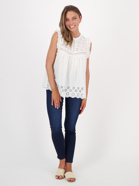 Womens Cotton Broderie Blouse