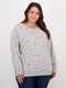Womes Plus Allover Print Crew Neck Sweater