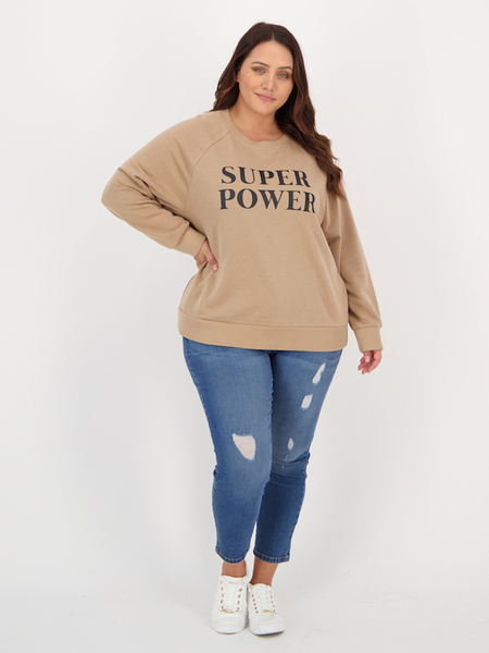 Women Plus Print Crew Neck Sweater