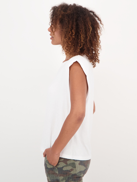 Womens Cotton Tee With Shoulder Pads