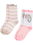 Girls 2 Pack Crew Jacquard Socks